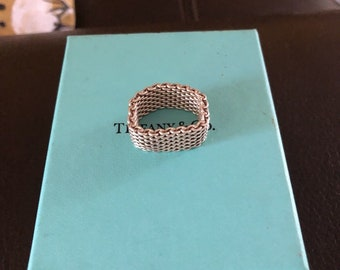 ce68e929382 Unique Tiffany   Co Sterling Silver Somerset Mesh Ring Size 10 - 10 1 2