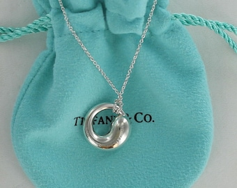 "SALE:  Lovely and Meaningful Tiffany & Co. Sterling Silver Eternal Circle Necklace on a 16"" Chain"