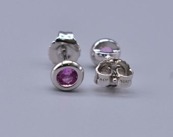 NEW, NEVER WORN!!!  Tiffany & Co. Elsa Peretti Color by the Yard Feminine Pink Sapphire Stud Earrings with Original Backs