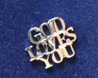 RARE Vintage Tiffany & Co. Sterling Silver God Loves You Tie Tack or Lapel Pin