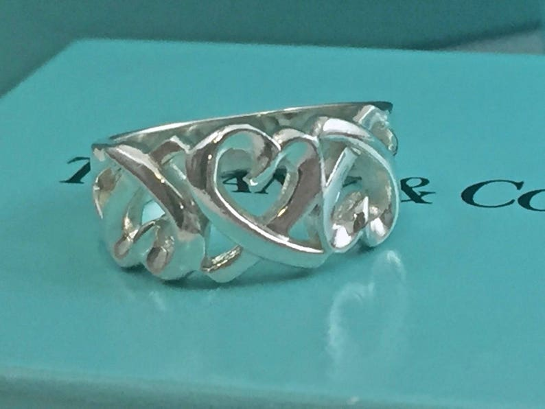 d74af1b2b9738 NEVER WORN! Fabulous Tiffany & Co. Palmoa Picasso Triple Heart Ring - Size  5.5