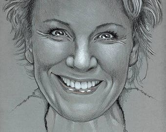 Mariele Millowitsch, portrait - original - drawing