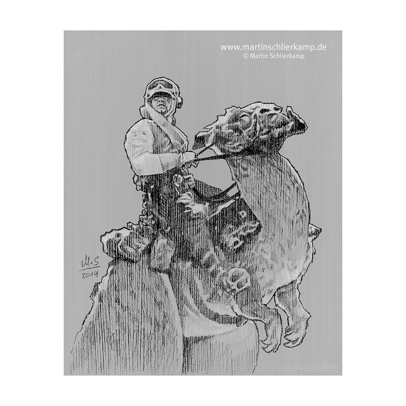 Star Wars Episode 5 Luke Skywalker Taun Taun  Sketch Drawing image 0