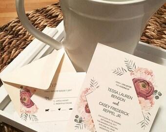 Floral Wedding Invitation + RSVP