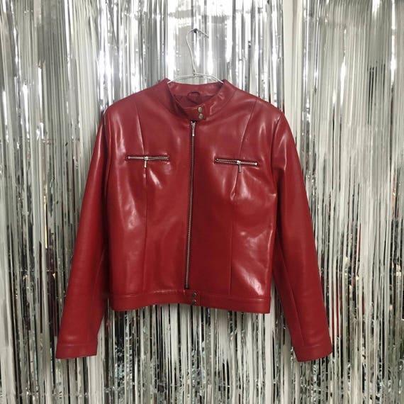 Red Vintage PVC Motorcycle Jacket