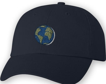 86552a369b3 Earth Embroidered Unstructured Dad Cap. Space hat. Science Hats
