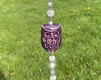 Owl CAR CHARM for your Rear View Mirror \u2022 Colorful Enamel Pendant and Beads \u2022 Rhinestone Acrylic Crystal