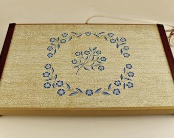 Corning Cornflower Blue Pattern Warming Tray Warm-O-Matic Vintage Mid-Century Works