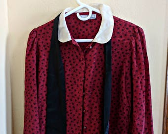 Vintage Jonathan Martin Burgundy Print Blouse Shirt Top with Attached Black Tie