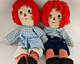 Vintage Raggedy Ann and Andy Dolls - May Be Handmade - Great Condition