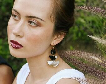 Buffalo Horn Earrings • Geometric Statement Earrings • Cream & Black • Handmade Statement Earrings • Bohemian Earrings • Festival Jewelry