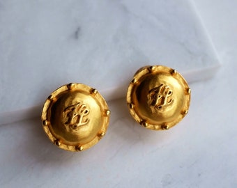 51cdeefe59ed25 Karl Lagerfeld Paris Vintage Couture Gold Clip-on Coin 'KL' Signed 1.25in  Earrings • Vtg earrings • Couture earrings • Couture jewelry