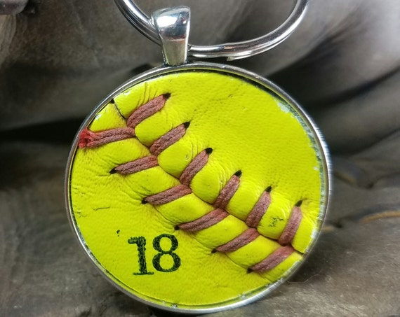 Softball Key Ring, Real Softball Key Ring, Personalized Softball Key Ring, Softball Team Gifts, Handmade Softball Key Ring, Sports Key Ring