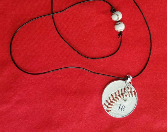 Baseball Necklace, Kids Baseball Jewelry, Personalized Baseball Necklace, Baseball Team Gifts,  Leather Cord Baseball Necklace