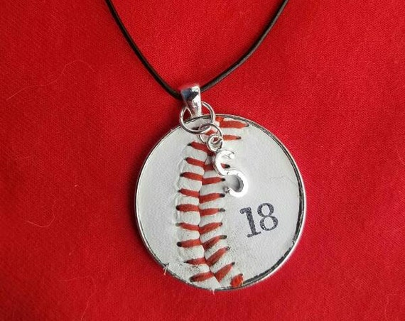 Baseball Necklace, Baseball Jewelry, Personalized Baseball Jewelry, Kids Baseball Necklace, Baseball Team Gifts,  Real Baseball Necklace