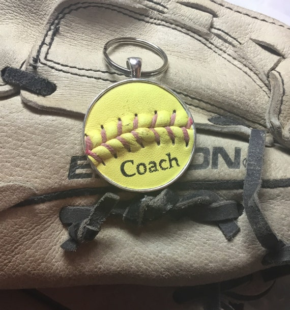 Coach Softbal Key Ring, Real Softball Key Ring, Personalized Softball Key Ring, Softball Team Gifts, Softball Key Ring