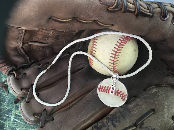 Baseball Necklace, Baseball Jewelry, Kids Baseball Necklace, Leather Baseball Necklace, Baseball Team Gifts, Personalized Baseball Necklace
