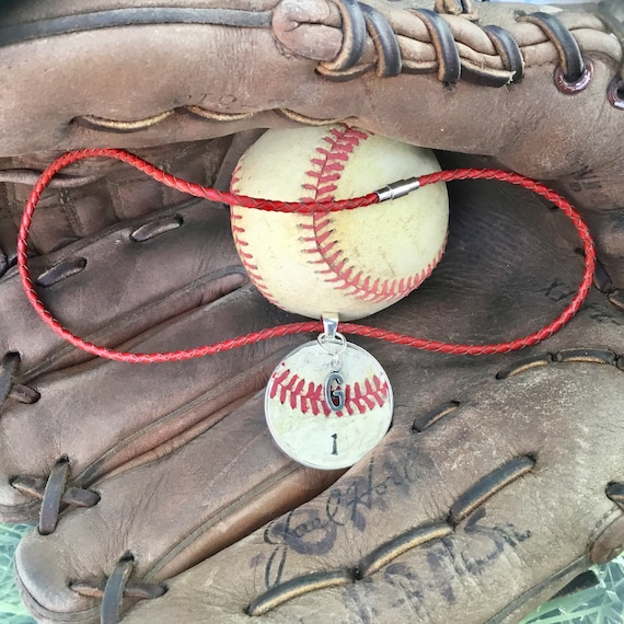 Baseball Necklace, Baseball Jewelry, Kids Baseball Necklace, Real Baseball Necklace, Leather Cord Baseball Necklace, Baseball Team Gifts
