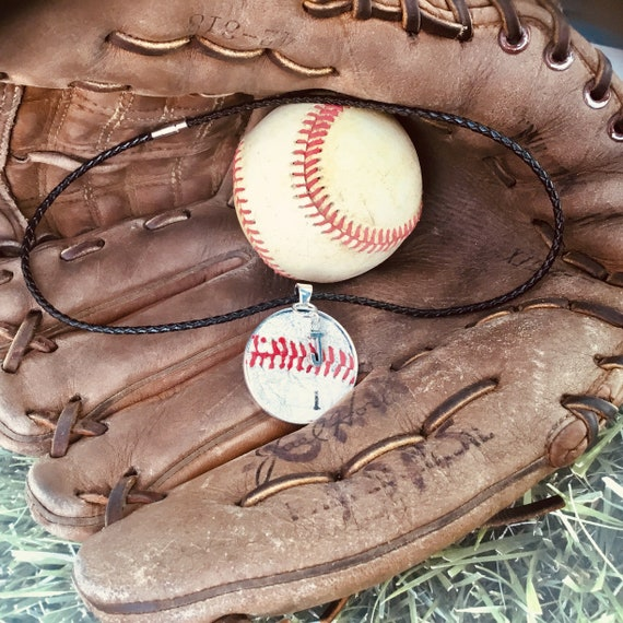 Baseball Necklace, Baseball Jewelry, Kids Baseball Necklace, Leather Baseball Necklace, Baseball Team Gifts,Personalize Baseball Necklace