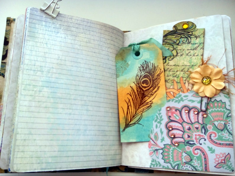 Writers Journal Diary Peacock Junk Journal Junk Journal Handmade Junk Journal