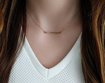 Mini Bar Necklace/ Hammered Mini Bar Necklace/ Gold Filled Mini Bar Necklace/ Sterling Silver Mini Bar Necklace/ Horizontal Bar Necklace