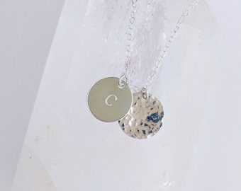 Gold Filled Disc Necklace . Initial Disc Necklace . Hammered Disc Necklace . Silver Disc Necklace . Custom Disc Necklace . Gold Filled Disc
