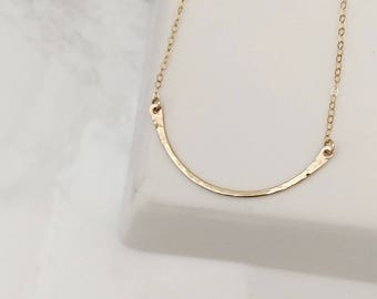 Curve Necklace, U Shaped Necklace, Gold Curved Necklace, Dainty Gold Necklace, Gold Layering Necklace, U Shaped Hammered Necklace