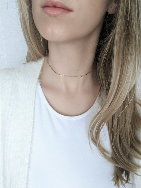 Dainty Gold Choker Gold Filled Satellite Chain Necklace