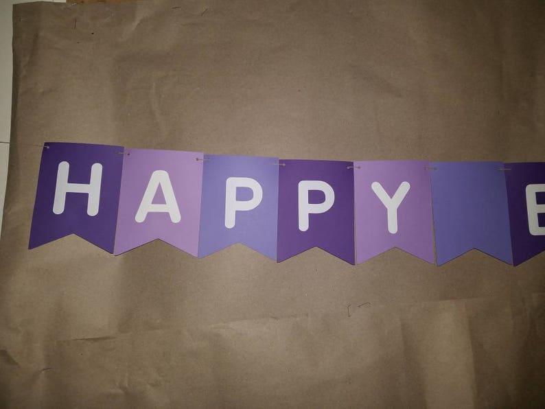 teen birthday decor Birthday Banner Custom birthday banner Girl birthday banner shades of purple Happy Birthday Banner Personalized