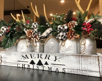 mason jar christmas centerpiece buffalo check decor buffalo check christmas christmas buffalo check decor christmas centerpiece antler