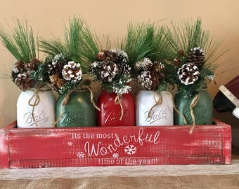 Mason jar christmas centerpiece, Rustic mason jar christmas centerpiece, christmas centerpiece, christmas decorations, merry christmas, xmas