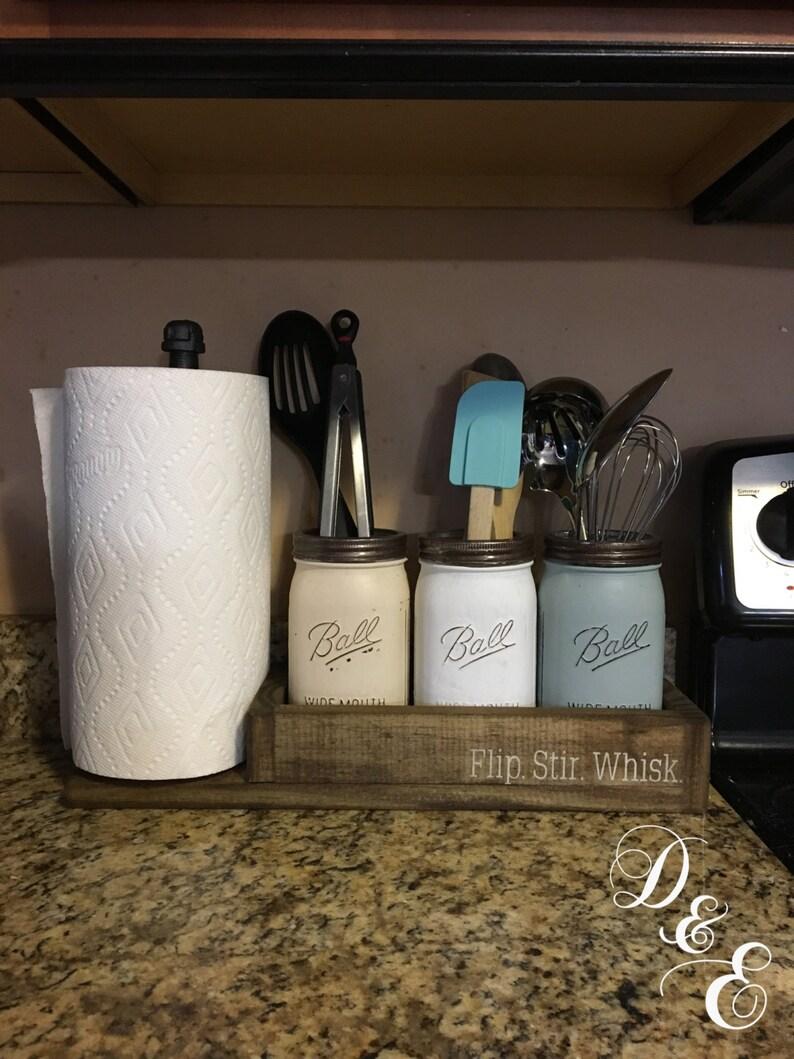 mason jar utensil hold paper towel holder kitchen set image 0