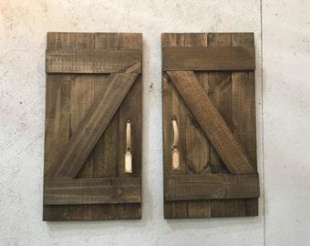 Mini Barn doors, rustic barn doors, wall decor, weathered barn doors, weathered wood, distressed wood, tiny bar door decor, country living