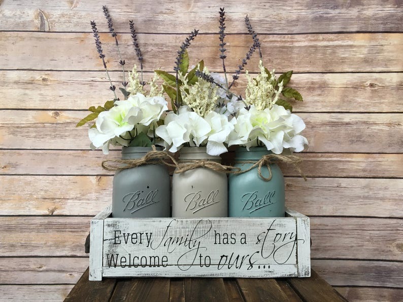 Mason Jar Centerpiece Mason Jar Centerpiece Decor Mason Jar Etsy