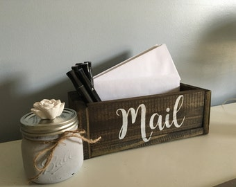 mail box, wood mail box, mail storage, planter mail box, mail organizer, countertop storage, office organization, house warming gift