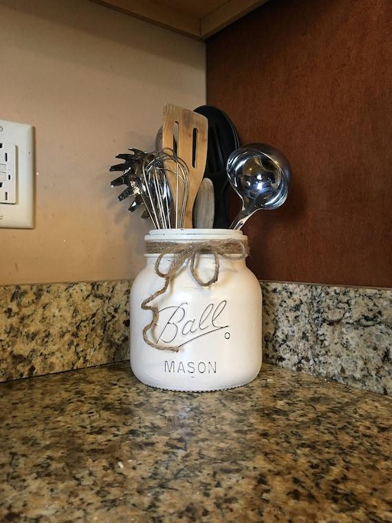 Half Gallon Utensil Holder Mason Jar Utensil Holder Mason   Etsy