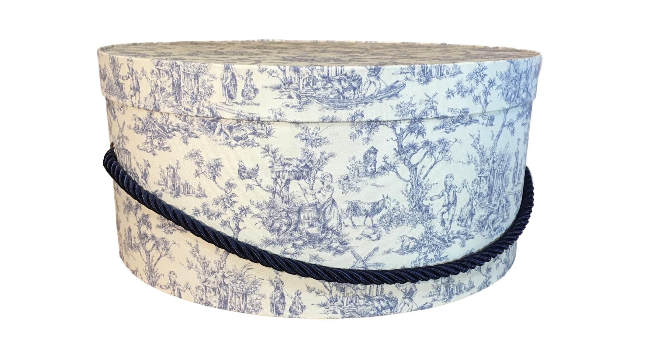 """Large 8"""" Hat Box in Blue French Toile, Large Decorative Fabric"""