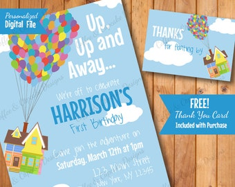 ON SALE Up Birthday Invitation | First Birthday Invitation | Boy Birthday Invitation | Up Thank You Card | DIY Printable Invite