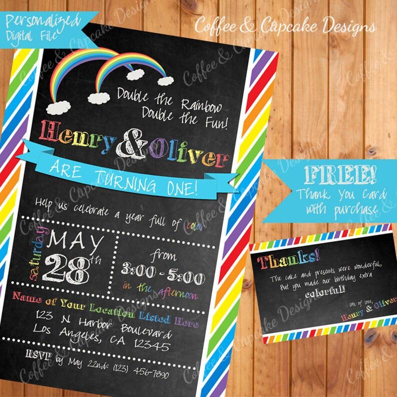 ON SALE Twin Rainbow Birthday Invitation Baby