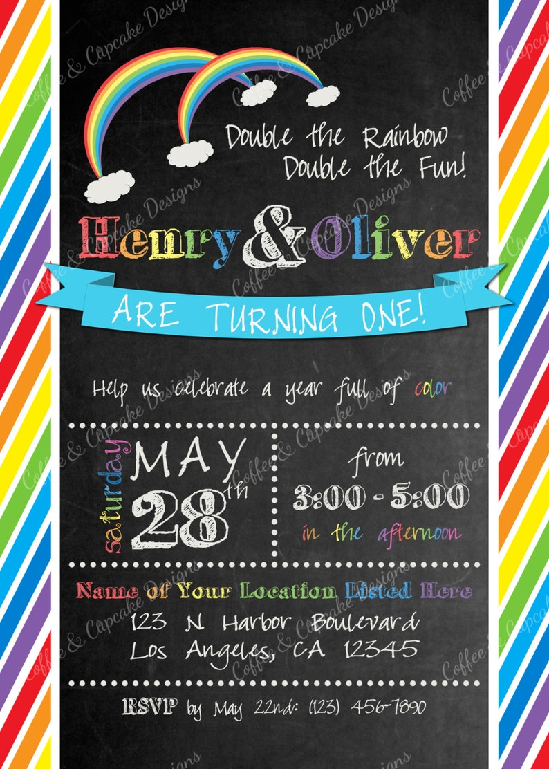 ON SALE Twin Rainbow Birthday Invitation Baby