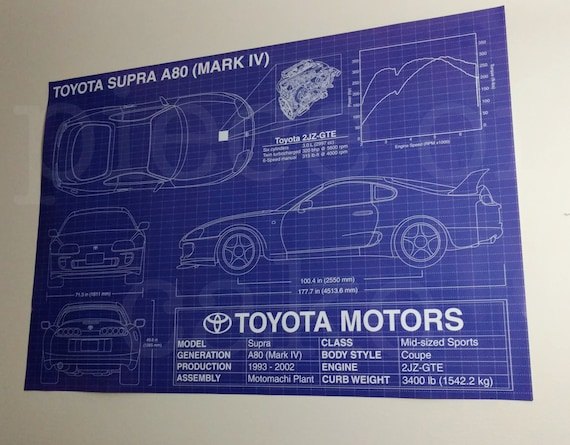 Toyota supra a80 mark iv 4 blueprint specs poster 27x39 etsy image 0 malvernweather Gallery