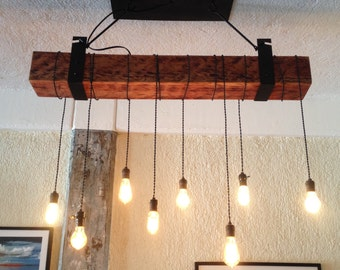 8 foot Reclaimed Wood beam Chandelier