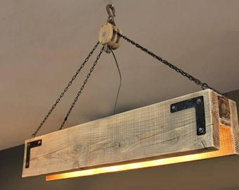 "42"" Wood Beam & Pulley Chandelier"