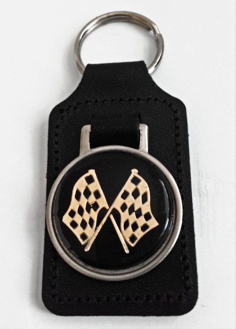 Leather Car Key-Ring Fob Vintage Gold Crossed Checker Flags