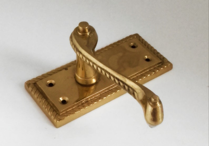 Vintage Pair Of Georgian Polished Brass Lever Latch Traditional Door Handles