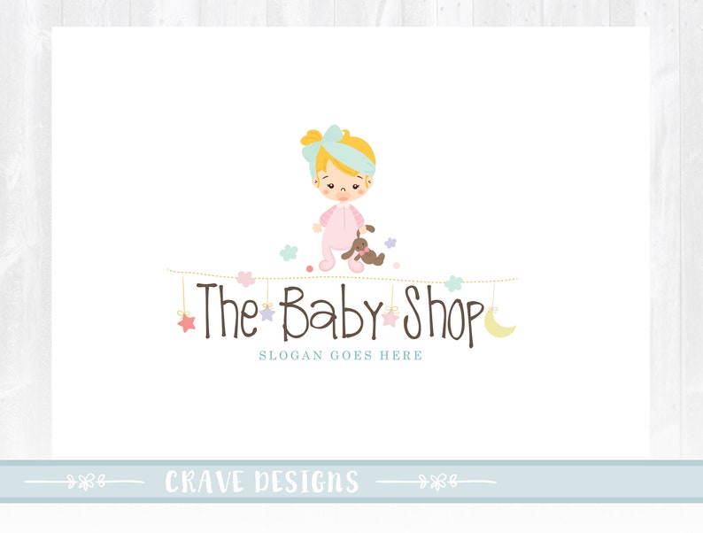 68e7b90e0c3db Baby Logo design, Premade logo, Baby Boutique, photography,baby store, baby  fashion , baby girl logo,watermark