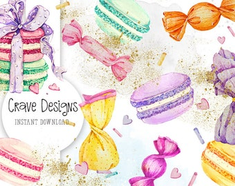 Watercolor Candy Clipart, Sweets Clipart, Macarons Clipart,Candy, Sweets, Gift