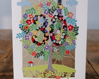 30th Birthday Card - luxury laser cut-out -made in England