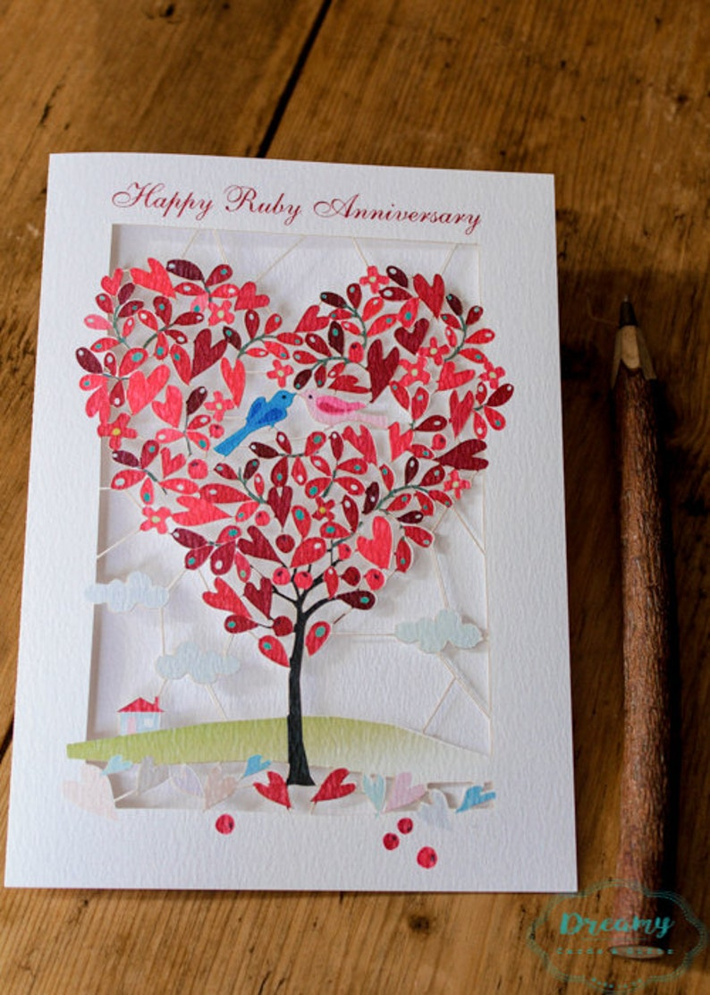 ruby anniversary card luxury laser cutout made in england