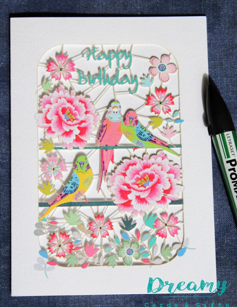luxury laser cut-out Birds and Flowers Birthday Card made in England